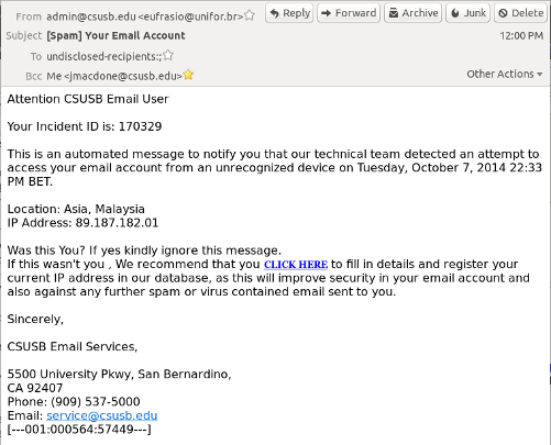 Sample of phishing email
