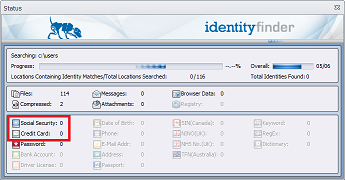 Screenshot of Indentity Finder search progress