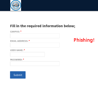 Sample: the target of the phishing CLICK HERE link