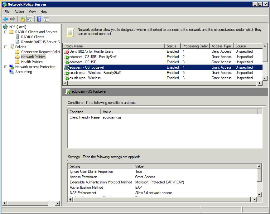 Configuring Microsoft NPS for eduroam-US   CSUSB