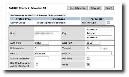 aruba radius server definition for eduroam
